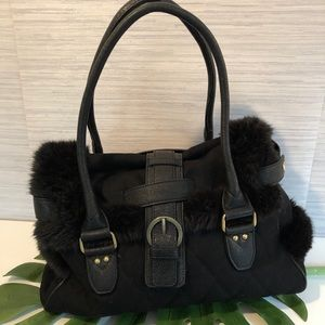 Faux fur trimmed handbag